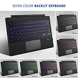 Tomsenn Surface Pro 4 / Pro 3 / New Surface Pro 6 Type Cover, Ultra-Slim Wireless Bluetooth Keyboard with Touchpad, 7-Color LED Backlit and Built-in Lithium (LED Backlit) (Color: LED Backlit)