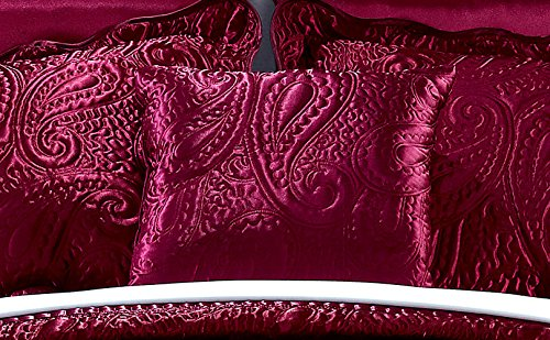 Home Soft Things Serenta Quilted Satin 4 Piece Bedspread Set, King, Burgundy by Home Soft Things (Image #4)