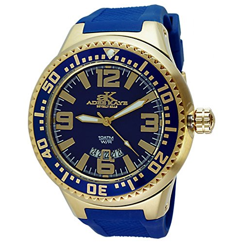 Adee Kaye #2230SS-MG Men's Neptune Collection Stainless Steel Silicone Band Blue and Gold Watch