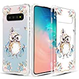 Caka Clear Case for Galaxy S10 Plus Clear Floral Case Animal Flower Pattern Animal Floral Series Slim Girly Anti Scratch Excellent Grip TPU Crystal Case for Samsung Galaxy S10 Plus (Owl)