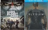 Dawn of Planet of the Apes & ELYSIUM Steelbook Sci-Fi Blu Ray Space Thriller Action Space Movie Set