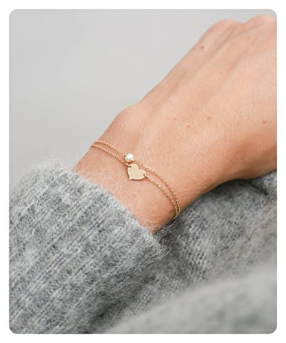 Fremttly Womens Simple Delicate Tiny Freshwater Pearls and Heart Bracelet 14K Gold Fill Handmade Jewelry-BR-B Heart - Heart Freshwater Pearl Bracelet