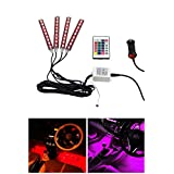 Digitalboy Car LED Strip Light, 4pcs 36 LED DC 12V Multicolor Remote Control Car Interior Light LED