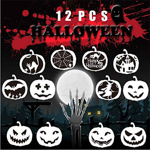 Volwco Halloween Drawing Painting Stencils Scale Template Sets, 12 Pcs Different Halloween Pumpkin Stencils for Painting on Wood, Craft Cards Making, Human Body Painting, Home Decor ()