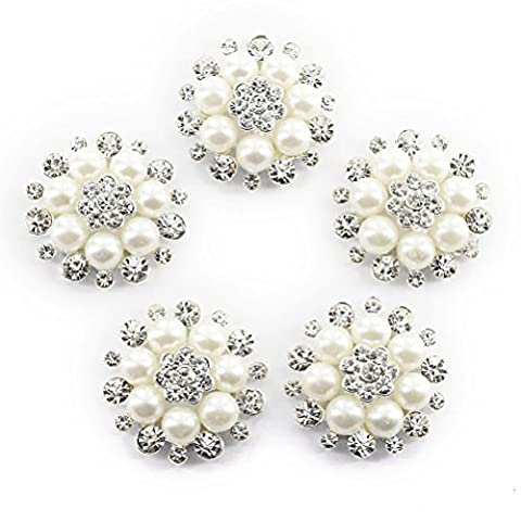 ULTNICE Faux Pearl Flower Buttons Embellishments for Craft Buttons Pack of 10 - Flower Button