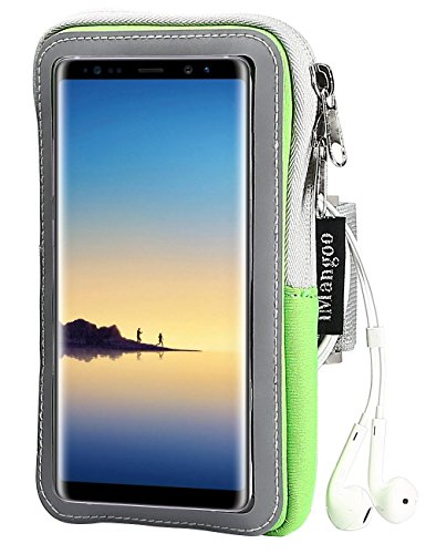 Note 8 Armband, iMangoo Running Arm Band Galaxy Note 8 Sports Armband Gym Wrist Bag Workout Arm Pouch Sleeve with Keys Holder/Cards Slot Wallet Case for Samsung Note 8 Note 3/4 Moto G4/ G4 Plus Green