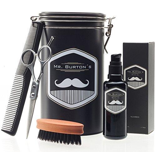 Hochwertiges Bartpflege Set - inklusive Mr. Burton´s Bartöl, Bartbürste, Bartschere und Kamm - als Geschenk, oder Geburtstagsgeschenk für Männer und Bartträger (CLASSIC)