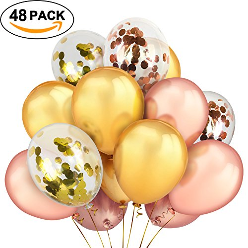 TIRIO Rose Gold Gold Confetti Balloons 48Pcs, Premium 12 Inch Rose Gold Gold Latex Party Balloons Bridal Shower, Baby Shower, Wedding, Engagement Party Decorations,Happy Birthday Balloons -