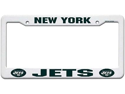 Amazon.com : NFL New York Jets Plastic License Plate Frame - White ...