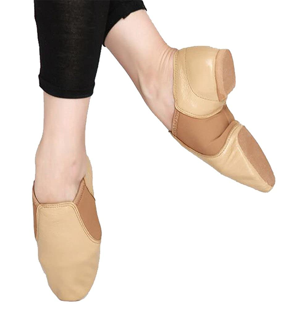 Kids Leather Flex Slip-on Jazz Boots Practice Dance Shoes with Spandex Gore