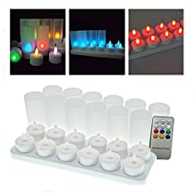 Set of 12 Color Changing Rechargeable Battery Flameless LED Tea Light Candle with Frosted Holder Cups and Remote Control