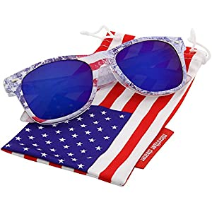 grinderPUNCH OK USA! American US Flag Reflective Revo Color Sunglasses UV400 Blue