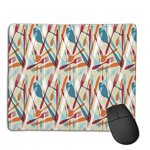 - Mouse Pad Bundle Stitched Edges Premium Waterproof Mouse Mat Pad,Kitchen Decor,Abstract Cutlery Image Knife Fork Spoon Modern Home and Cafe Art Design Pattern,Red Orange Blue,Consoles More Enjoy Pr