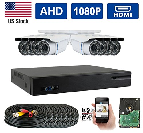 GW Security New 5-in-1 8CH 1080P DVR Video Surveillance Camera System 8 1080P 2.1 Megapixel Outdoor 34 IR LEDs 100ft Weatherproof Night Vision Bullet Security Camera For Sale