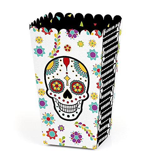 Day of The Dead - Halloween Sugar Skull Party Favor Popcorn Treat Boxes - Set of 12 ()