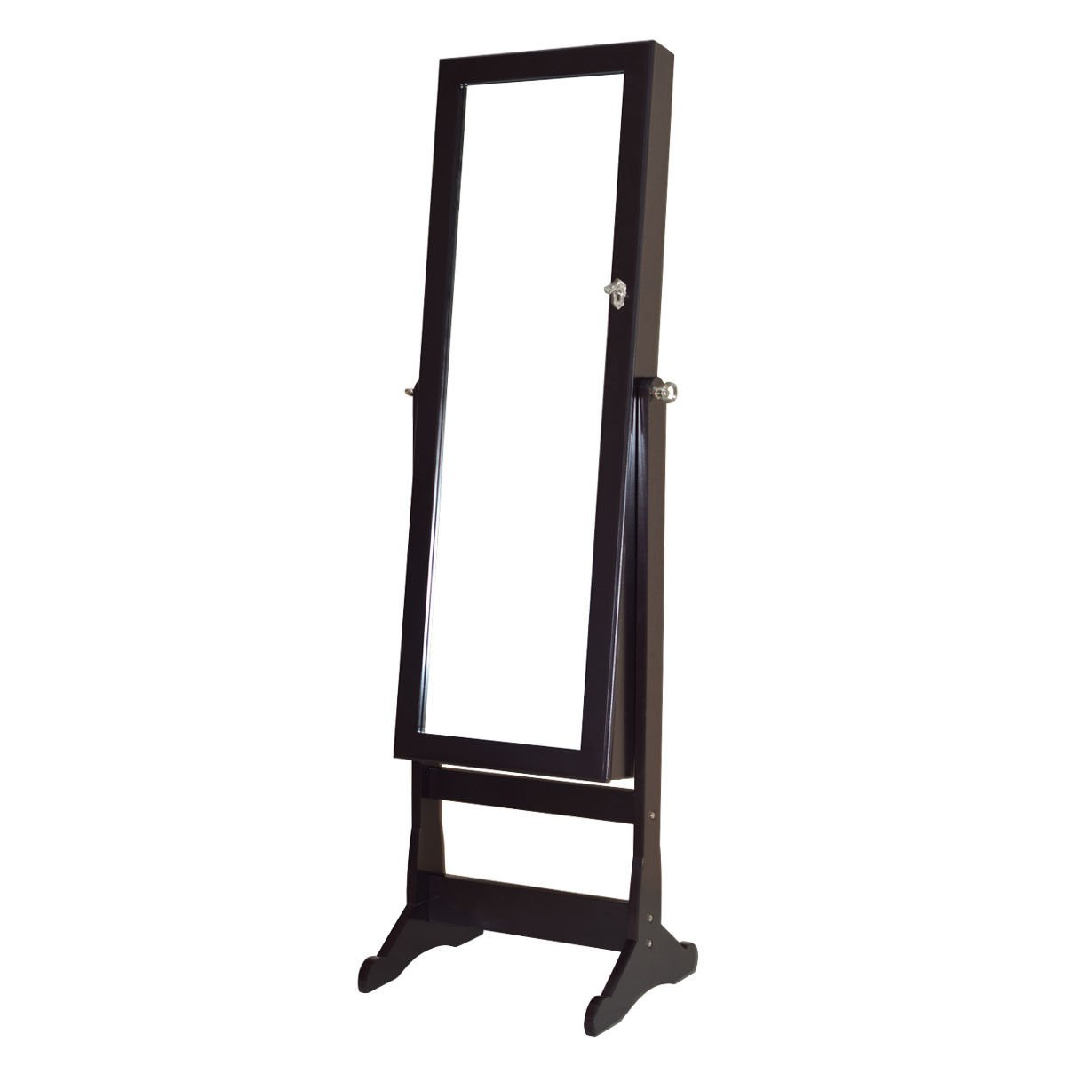 Full Length Mirror Jewelry Cabinet Armoire Velvet-Lined Interior Organizer Storage w/ LED Lights Battery by FDInspiration (Image #2)
