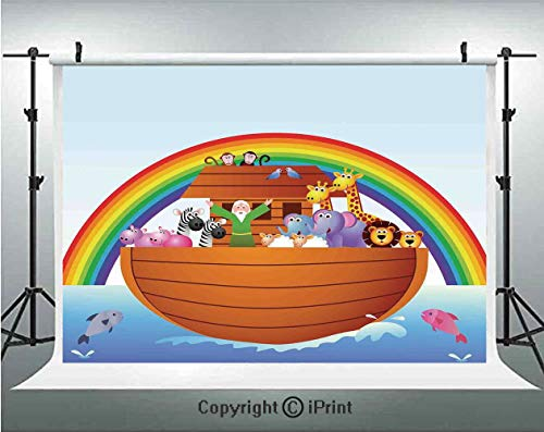 Noahs Ark Photography Backdrops Noah Ark and Colorful Sky Every Kind of Creature Sailing Artful Design Print,Birthday Party Background Customized Microfiber Photo Studio Props,5x3ft,Multicolor (Noahs Ark Back Drop)