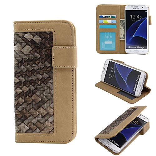 Samsung Galaxy S7 Edge Wallet Case,Rejazz [Brown] Weave Textured Pattem PU Leather Hemming Flip Holster Magnetic Protective Shell Credit Card ID Holders Cover Cases for Samsung Galaxy S7 Edge