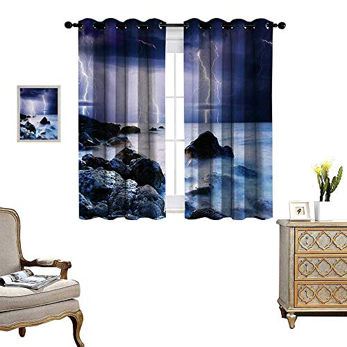 Nature Room Darkening Wide Curtains Summer Storm Flashes Over The Rocks in Ocean Nightmare Theme Weather Nature Image Decor Curtains by W63 x L72 Purple Grey ()