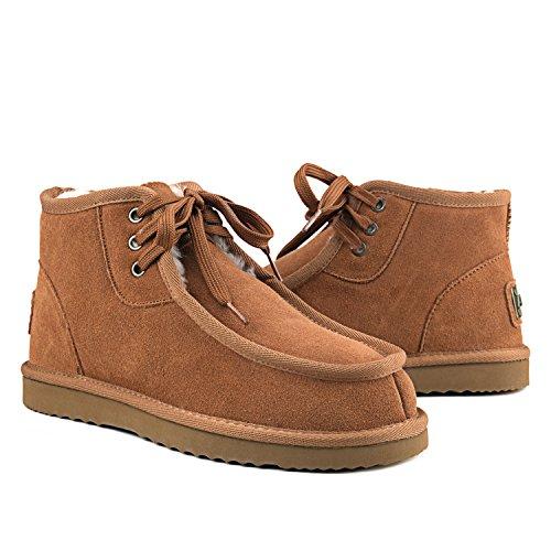 Winter DAD021 Kurz Schlupfstiefel Shenduo Herren Chestnut Winterstiefel Leder Boots Xz0SxO