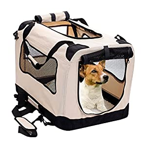 2PET Foldable Dog Crate - Soft, Easy to Fold & Carry Dog Crate for Indoor & Outdoor Use - Comfy Dog Home & Dog Travel Crate - Strong Steel Frame, Washable Fabric Cover, Frontal Zipper Medium Beige