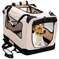 2PET Foldable Dog Crate - Soft, Easy to Fold & Carry Dog Crate Indoor & Outdoor Use - Comfy Dog Home & Dog Travel Crate - Strong Steel Frame, Washable Fabric Cover, Frontal Zipper Medium Beige