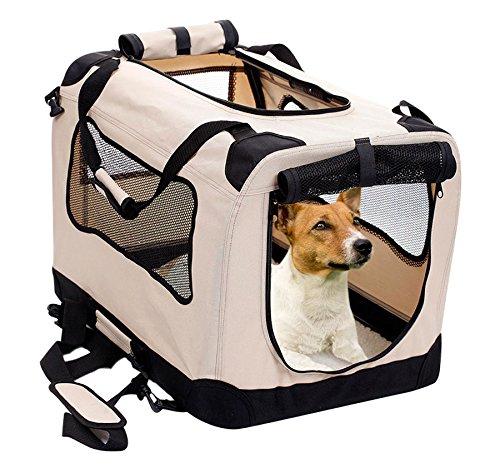 2PET Foldable Dog Crate - Soft, Easy to Fold & Carry Dog Crate for Indoor & Outdoor Use - Comfy Dog Home & Dog Travel Crate - Strong Steel Frame, Washable Fabric Cover, Frontal Zipper Medium Beige (Car Kennels For Dogs)