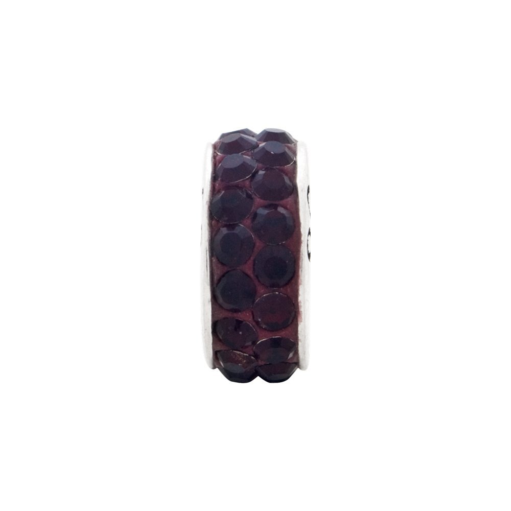 Sterling Silver Reflection January Double Row Crystal Solid Bead