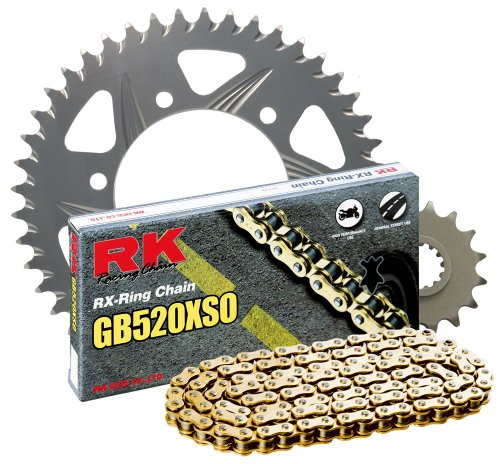 RK Racing Chain 4067-998RG Silver Aluminum Rear Sprocket and GB520XSO Chain 520 Race Conversion -