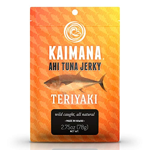 Kaimana Ahi Tuna Jerky Teriyaki 2.5 Ounce - Soft and Tasty - Premium Fish Jerky Made in the USA. High in Omega 3s, All Natural and Wild Caught