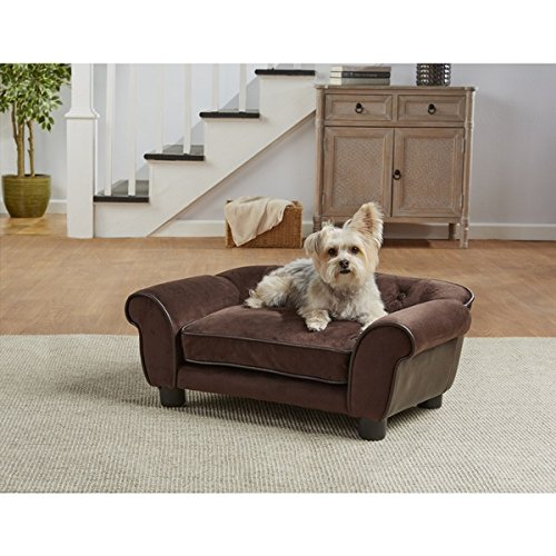 Enchanted Home Pet Cleo Pet Sofa Bed, pebble grain faux-leather construction, rounded arms, and tufted buttons