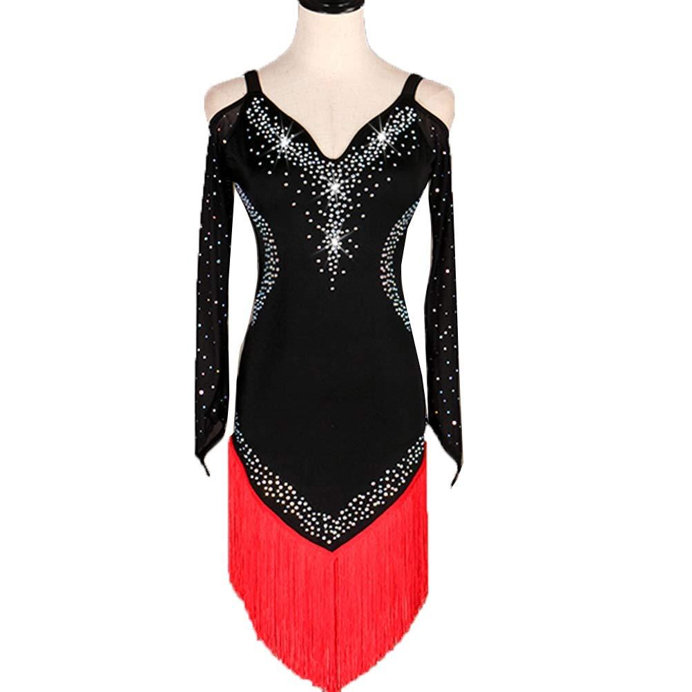 rouge L Danse Latine Frangée Perforhommece VêteHommests de Danse Bretelles d'épaule à Manches Longues Cha Cha Samba Costume Stretch Jupe de Danse Strass Une Pièce