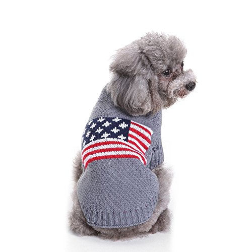 S-Lifeeling National Flag Dog Sweater Holiday Halloween Christmas Pet Clothes Soft Comfortable Dog Clothes