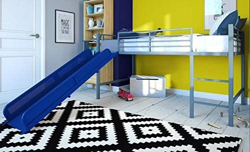 Loft Bed With Stairs-Toddler Loft Bed- Blue Metal Twin with Slide - Give Your Child