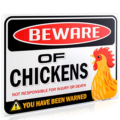 Beware of Chickens Warning Sign | 9quot x 12quot | Danger Sign Funny Gag Gifts for Chicken Fan Lovers | Corrugated Plastic | Indoor/Outdoor | Chicken/Rooster Plaque Sign Made in USA