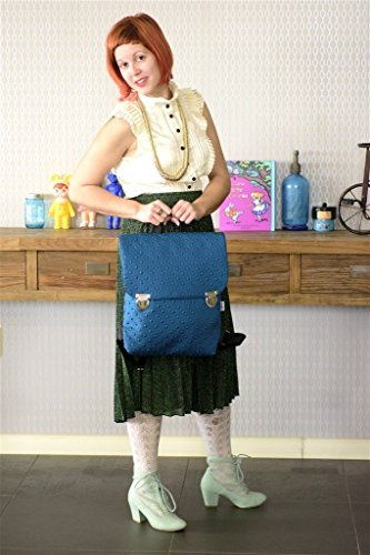 Turquoise Women Vegan Backpack, Made from Waterproof Wetsuit Fabric, Lightweight Retro Style Ipad Bag, Handmade - Designer Wetsuits