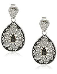 Sterling Silver and 14k Yellow Black or Blue Diamond Accent Pear-Shape Earrings