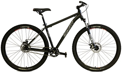 Gravity G29 FS 29er Single Speed Mountain Bikes + Lock Out Suspension Fork Disc Brakes (Matt Black, 15.5