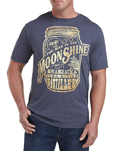 True Nation by DXL Big and Tall Man in The Moonshine Graphic Tee, Navy Heather, 4XL