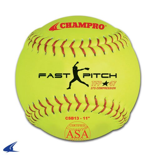 Champro ASA Tournament Leather Cover, Red Stiches (Optic Yellow, 11-Inch) (Chicago Softball)