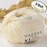 3 Pack (Ball) Gazzal Baby Cotton XL Total 5.28 Oz / 344 Yrds, Each Ball 1.76 Oz (50g) / 114 Yrds (105m) Super Soft, DK- Worsted Baby Yarn, 50% Turkish Cotton, Beige - 3437