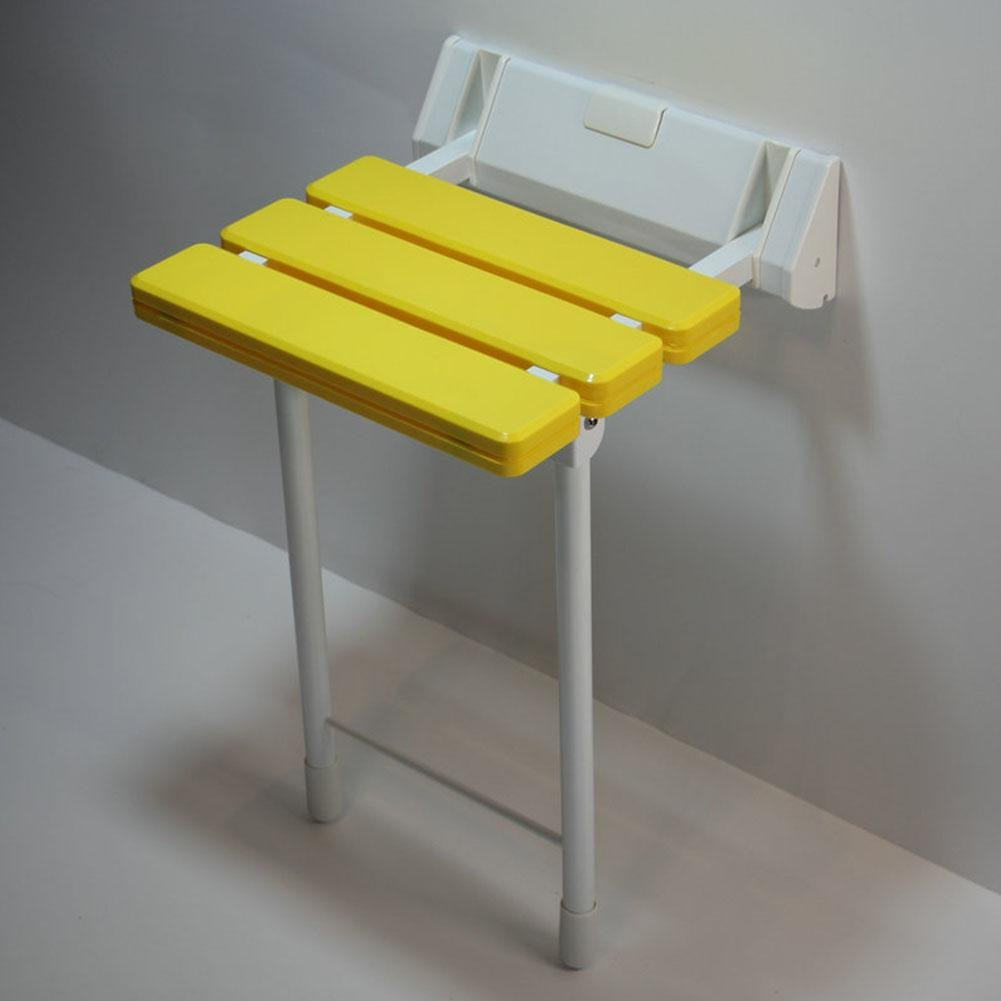 TSAR003 Aluminum Alloy And Abs Bathroom Folding Shower Seat Wall Mounted ?Height Adjustable?Specifically For The Elderly /Pregnant Women/Disabled People,12.9'' 12.6'', 330 Lb Load , Yellow