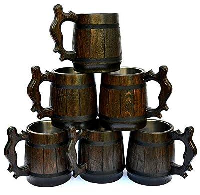 Handmade Wood Beer Mug 0.5L 17oz Natural Stainless Steel Cup Men Gift Eco-Friendly Souvenir Retro Brown