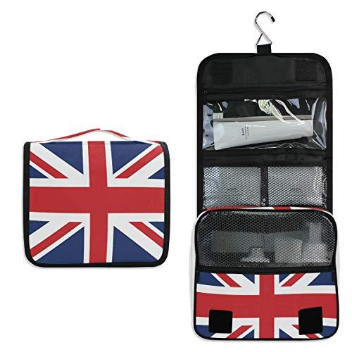 Union Jack Bags - XLING Toiletry Bag British Union Jack Flag Stripe Wash Gargle Bag Travel Portable Cosmetic Makeup Brush Case with Hanging Hook Organizer for Women Men