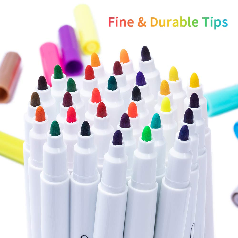 Bags Fabric Markers Pen T-Shirts Sneakers Fine Tip 32 Colors Permanent Fabric Paint Pens Art Markers Set Child Safe /& Non- Toxic for Canvas