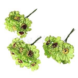 Chic Wedding Bridal Bouquet Party Decor Artificial Camellia Flowers DIY Craft Green 6Pcs 104