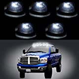 CCIYU 5 Pack Cab Roof Top Marker Black Smoked Running Lamps w/ Xenon White 6-5730-SMD LED Light Bulbs For Truck Pickup 4x4 SUV