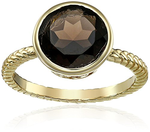 Cole Haan Semi Precious Smokey Quartz Brilliant Cut Ring, Size 7 Smokey Quartz Ladies Ring