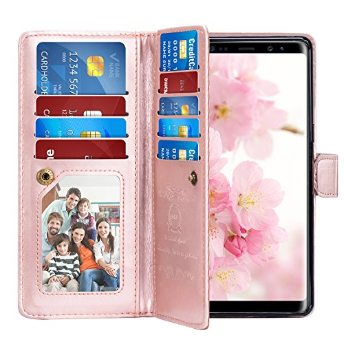 Note 8 Case, Pasonomi Note 8 Wallet Case with Detachable - [Folio Style] PU Leather Wallet case with ID&Card Holder Slot Wrist Strap for Samsung Galaxy Note 8 (Rose Gold, Samsung Galaxy Note 8)