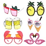 alesTOY Novelty Party Sunglasses, 6 Pairs Creative Funny Glasses, Luau...